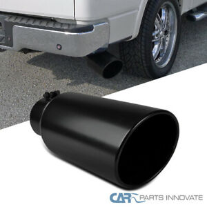 """Black Coated Rolled Edge Angle Diesel Exhaust Tip - 4"""" Inlet 6"""" Outlet 15"""" Long"""