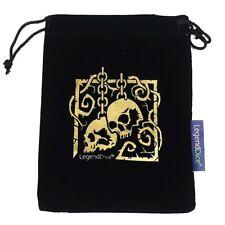 Black Suede Velvet Die Dice Bag Gold Skull Chain Large Pouch D&D RPG Drawstring