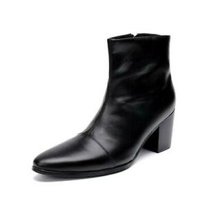 Mens British Pointy Toe Leather Mid Calf Boots Shoes Cuban Heel Side Zip Bar