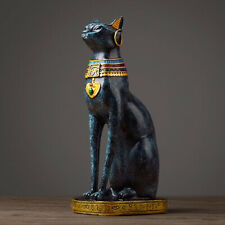 Statue chat égyptien bleu Egyptian style cat blue déesse Bastet goddess maison