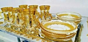 Turkish Arabian Tea Set of 6 With Saucer Gold Plated Holder Glass Cups Ottoman