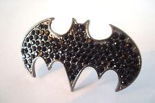 Size M And N Dark Silver Tone Double Finger Batman Black Rhinestone Ring