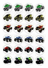 24 MONSTER TRUCKS  WAFER RICE PAPER EDIBLE FAIRY/CUPCAKE TOPPERS