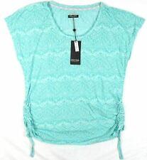1X Plus Women's Point Zero Curvy Shirt Ruched Sides Slub Top Light Aqua NEW
