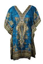 Boho Chic BLUE Printed Dress Cruise Caftan Loose Beach Cover up Dresses 3XL