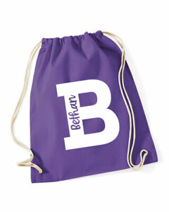 Personalised Initial PE bag,Any Name& Letter,cotton gym bag/drawstring,6 colours
