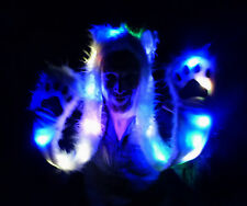 Wolf Light Up LED Long Animal Hat White Fur Black Tips Fuzzy Hood Mittens Party