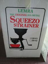 Vintage The Original Lemra Squeezo Food Strainer Kit Model 09101