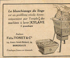 BORDEAUX ATELIERS FELIX TONNET MACHINE A LAVER KYLAVE PETITE PUBLICITE 1919