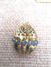 14k Filigree Hollow Ball/Egg Pendant/Locket 8.2 grams, w/ 16 Blue Feldspar