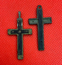 Large Catholic cross with a crucifix and inset in wood