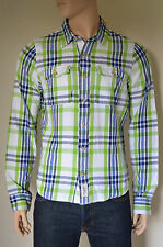 Nueva Abercrombie & Fitch Palmer Brook Twill Franela Camisa Verde Cuadros Shirt Xxl