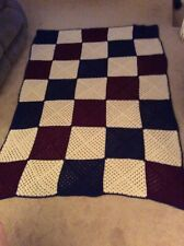 """Colorful Hand Crocheted Granny Square  Afgan, Blanket Throw Approx 90"""" X 60"""""""