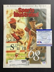 Bob Gibson St. Louis Cardinals Signed Autograph SI Sports Illustrated PSA DNA