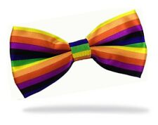 GIFTS FOR MEN Pre-Tied Adjustable Mens Rainbow Stripe Polyester Satin Bow Tie