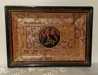 Vintage Japanese Chinese Asian Lacquered Wood Tray Hand Painted Decorated Cranes