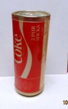 1970S  2 PAIR OF COCA-COLA SOCKS PACKAGED IN CAN-SHAPED CONTAINER - EXCELLENT