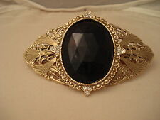 Crystal Rhinestone Black Faceted Glass Gold Barette Hair Clip Made in France