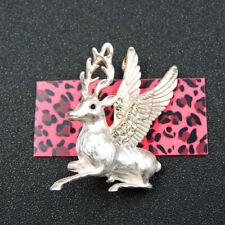 Deer Betsey Johnson Charm Brooch Pin White Crystal Enamel Cute Angel Sika
