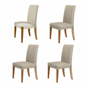 Set of 4 Easy Fit Stretch Dining Chair Covers Taupe by Home Innovations
