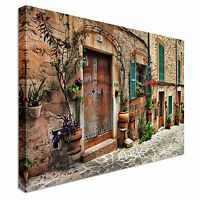 Charming Streets Of Old Mediterranean Towns Canvas Wall Art Picture Print