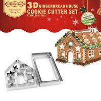 10X 3D Gingerbread Cookie Cutter Stainless Steel Biscuit Mold Kitchen Tool Kit