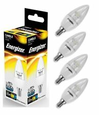 4x Energizer E14 SES Candle LED Light Bulb 250lm Clear 3.4W=25W Warm White 2700k