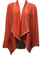 New NY COLLECTION Womens Plus 2X Red Beige Trim Drape Front Knit Jacket Cropped