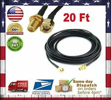 20ft WiFi Antenna RP-SMA Extension Coaxial Cable Cord for Wi-Fi Wireless Router