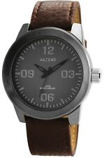 XXL Men's Watch Grey Brown Titanium LOOK Analogue Leather G-60412119523695