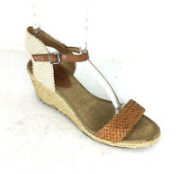 Lucky Brand $79 Kavelli Brown leather Espadrilles Wedge Strap Sandals size 7.5