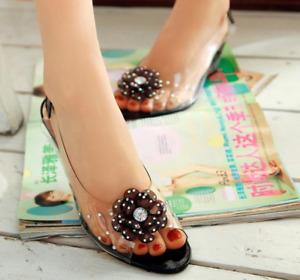 Women Peep Toe Mid Wedge Heels Flower Rhinestone Sandals Slingback Beach Shoes