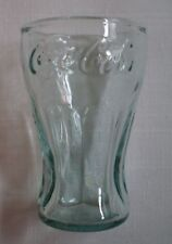 Small Mini Coca Cola Glass with Writing and Green Tint Three (3) Inches Tall