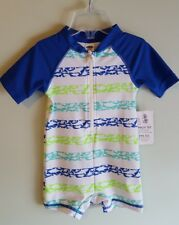 NWT Old Navy Boys 12-18 MONTHS One-Piece Short Sleeve Swimsuit SHARKS Zip #48317
