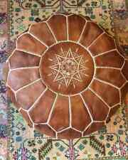 Large Handmade Leather Pouf- Natural