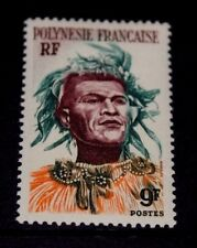 FRENCH POLYNESIA 1958 9f POLYNESIAN MAN ISSUE FINE M/N/H