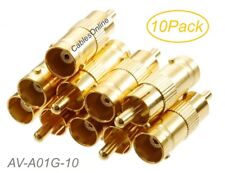 10-Pack BNC Female to RCA Male Gold Plated 75ohm Coax Adapters, AV-A01G-10