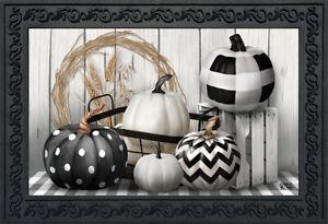 "Black & White Pumpkins Fall Doormat Farmhouse Autumn Indoor Outdoor 18"" x 30"""