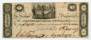 1817 $5 The Jefferson Bank of New Salem, OHIO Note AU