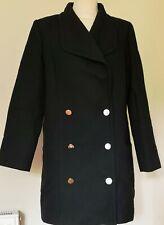 LADIES CLAUDIE PIERLOT BLACK DOUBLE BREASTED PEA COAT SIZE 38 UK 8
