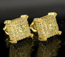 Mens Canary Cz 14k Gold Plated Quality Stones Screw Back Bling 3D Earrings