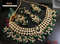 Gold Plated Choker Bollywood Indian Kundan Green Necklace Earrings Tikka Set