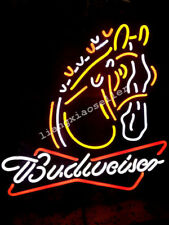 New Budweiser Clydesdale Horse Logo Beer Bar Real Neon Light Sign Man Cave