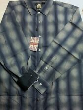 English Laundry Blue/Gray Plaid L/S 100% Cotton Button Front Shirt XL NWOT