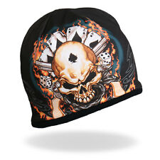 HD Sublimation Dead Mans Gambler Cards Dice Skull Biker Stocking Cap Beanie Knit