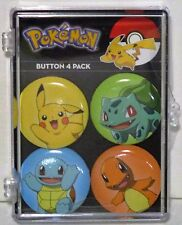 """POKEMON """"THE STARTERS"""" SET OF FOUR PIN BACK BUTTONS IN COLLECTORS CASE FREE SHIP"""