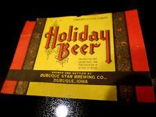 Unused 1950s IOWA Dubuque Star HOLIDAY BEER 12oz Christmas Label
