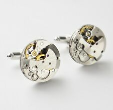 round chunky vintage watch mechanism cufflinks 20mm silver