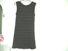 Black GOld Mini Dress 10 Topshop, strappy back, sequins, knitted, sleeveless vgc