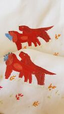 Beautiful Vintage Hand Embroidered Tablecloth - Red Setter Dogs in Countryside